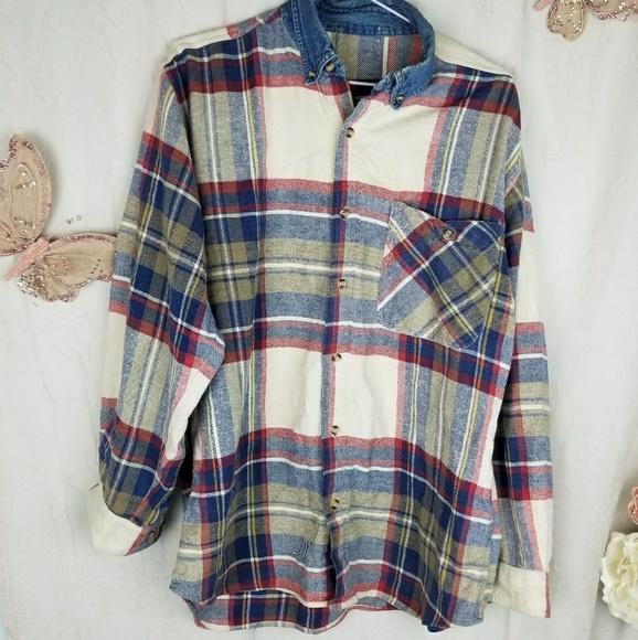 280c78cc6b XL flannel shirt plaid Jean denim collar vintage. M 5a5b3a632c705d4a1f0a4fa5